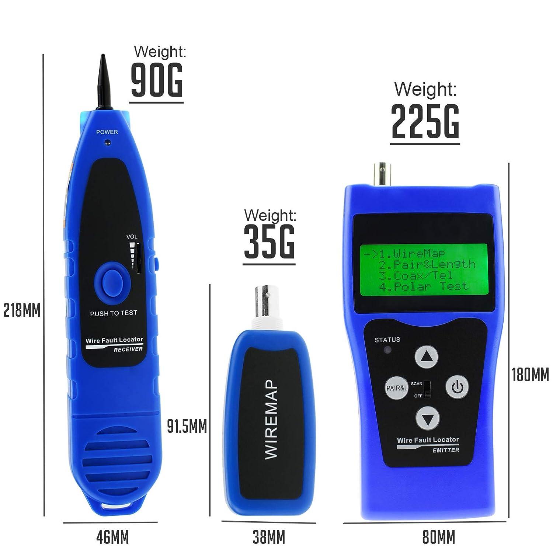 DANOPLUS Probador de Cables de Red 5E 6E STP UTP RJ11 USB Coaxial Gemelo Retorcido Wire Rastreador Cazador LAN Longitud de Cable Ensayador con 8 Remoto ...