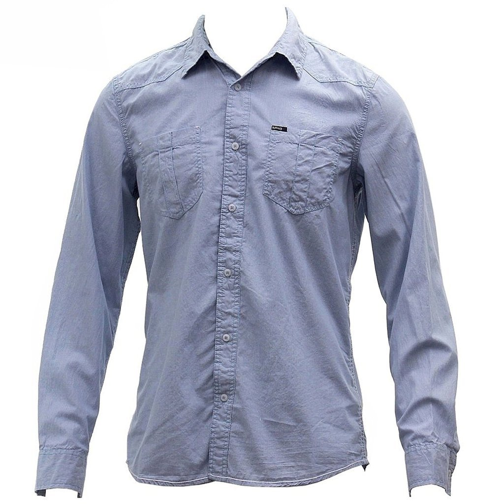 BUFFALO Blue Mens Sanler Vintage Blue Long Sleeve Button Down Striped Shirt