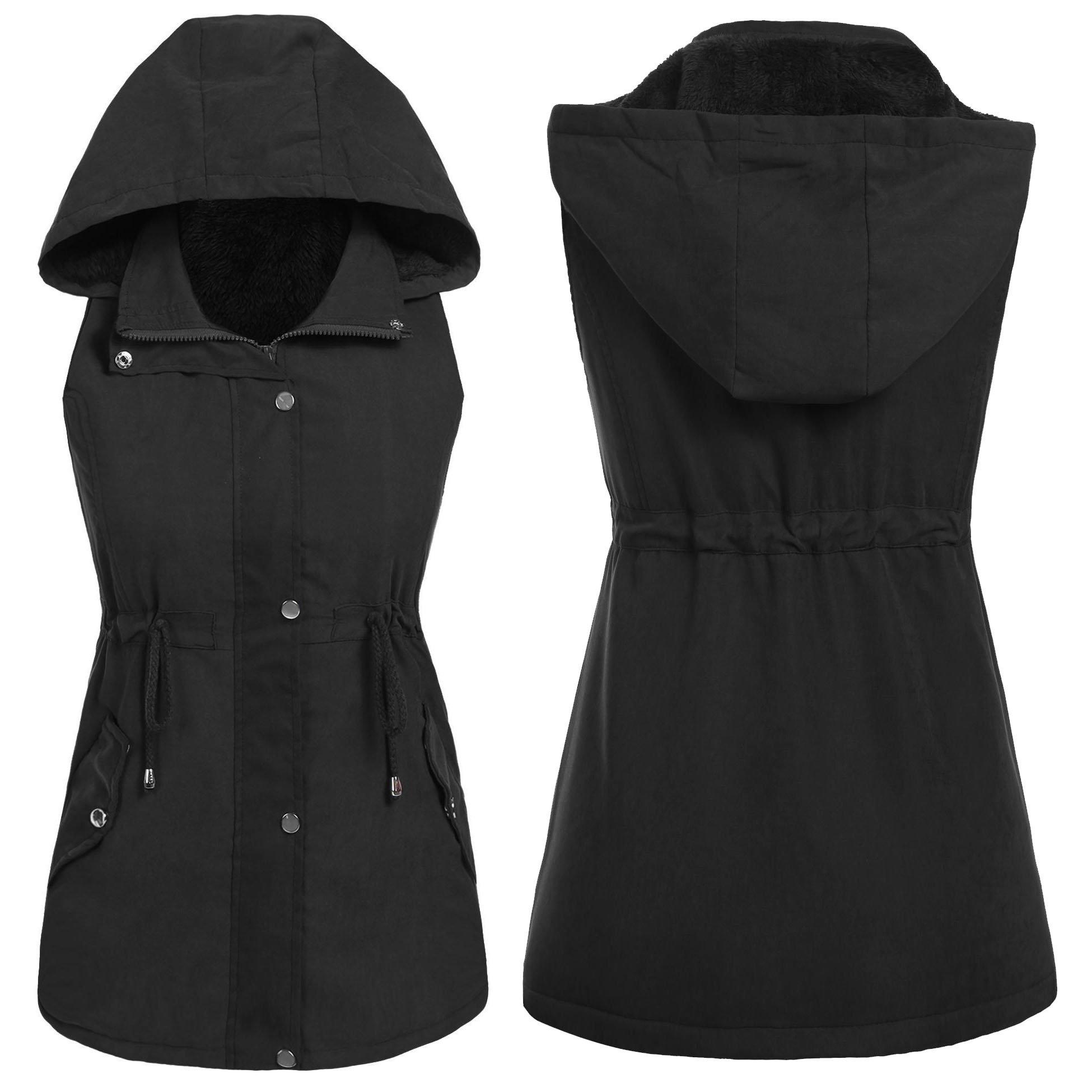 Dickin Women's Sleeveless Pockets Jacket Outdoors Travels Sports Vest Tops (Black XL)