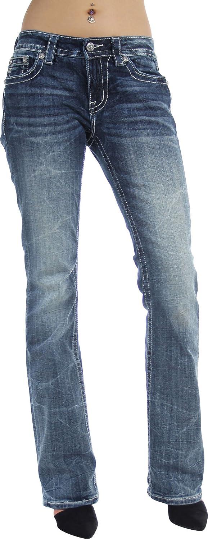 Miss Me - Womens MP8612B Mid-Rise Boot Leg Jeans, 26, Denim