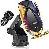 KenSera Wireless Car Charger Mount, Smart Sensor Qi Fast Wireless Car Charger Mount Auto Clamping Car Phone Holder Compatible