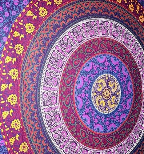 Jaipur Handloom Purple Mandala Wall Tapestry Hippie Mandala Bohemian Tapestry Wall Hanging, Psychedelic Wall Art, Dorm Décor Beach Throw, Indian Wall Tapestries