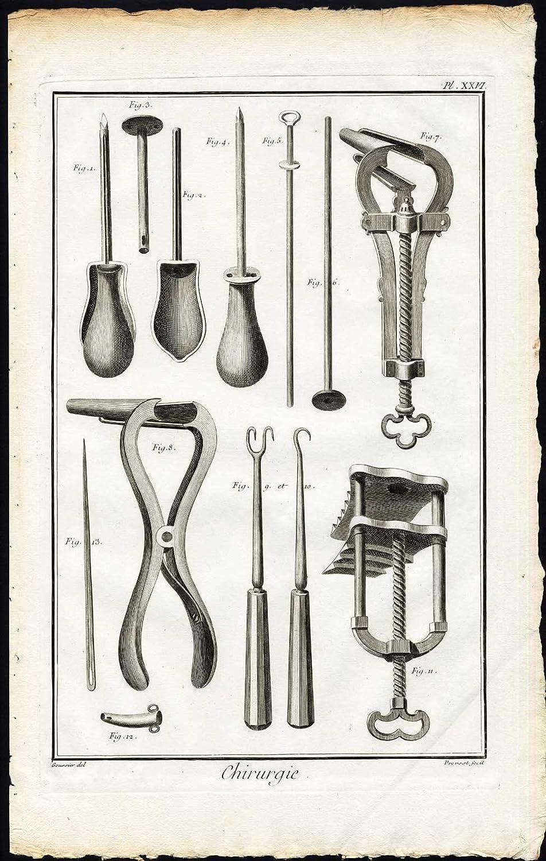 Antiguo ThePrintsCollector cruzerlite-cirugía-instrumento médico-clave-tróquer-Diderot-Prevost-1751
