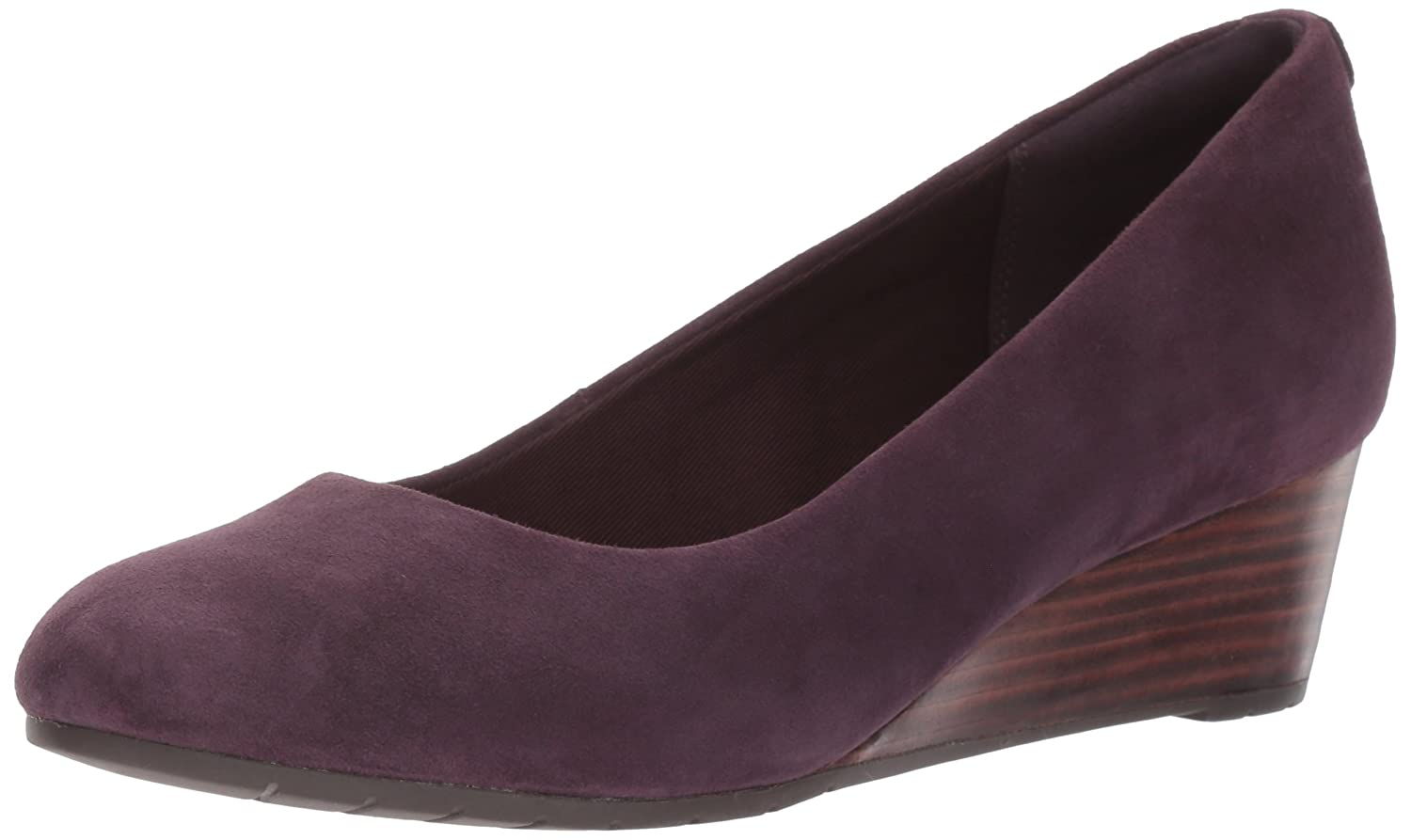 CLARKS Women's Vendra Bloom Wedge Pump B01NAL6IS7 6.5 B(M) US|Aubergine Suede