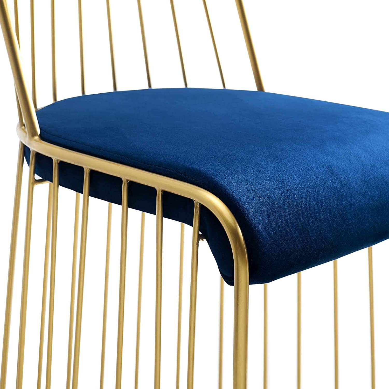 Modway EEI-3131-GLD-BLK Rivulet Gold Stainless Steel Upholstered Velvet Bar Stool Black