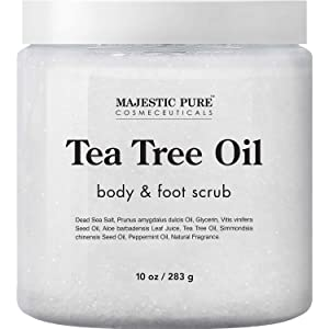 MAJESTIC PURE Tea Tree Body and Foot Scrub - Strong Shield against Fungus - Best Exfoliating Cleanser for Skin - Natural Help Against Acne and Callus - Promotes Healthy Foot - 10 oz