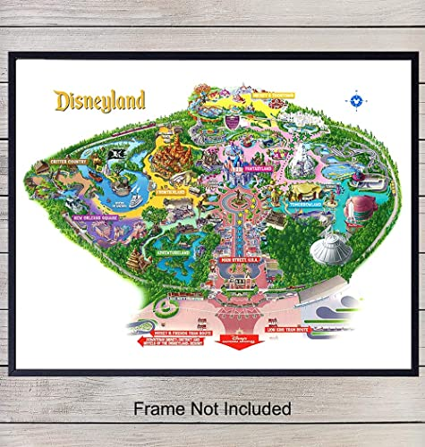 picture about Printable Map of Disneyland referred to as : Disneyland Map Artwork Print - Common Wall Artwork