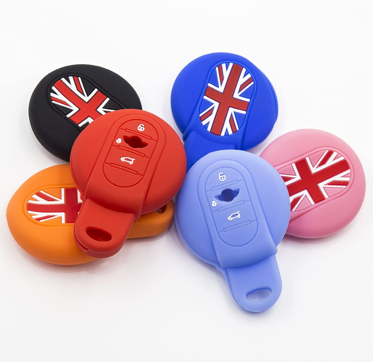 LIGHTKOREA Silicone Smart Key Case Cover For New Mini Cooper 3th Generation F55 F56 Club Man Country Man Pink