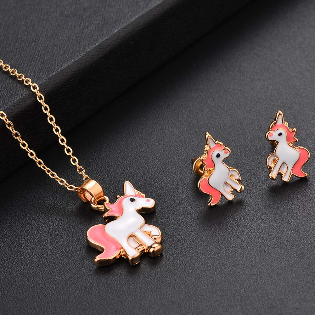 Beuya Unicornio Conjuntos de Joyas de Boda para Mujer Fashion Collar con Colgante y Pendientes Mejor Regalo Fiesta para Novia y Mujer