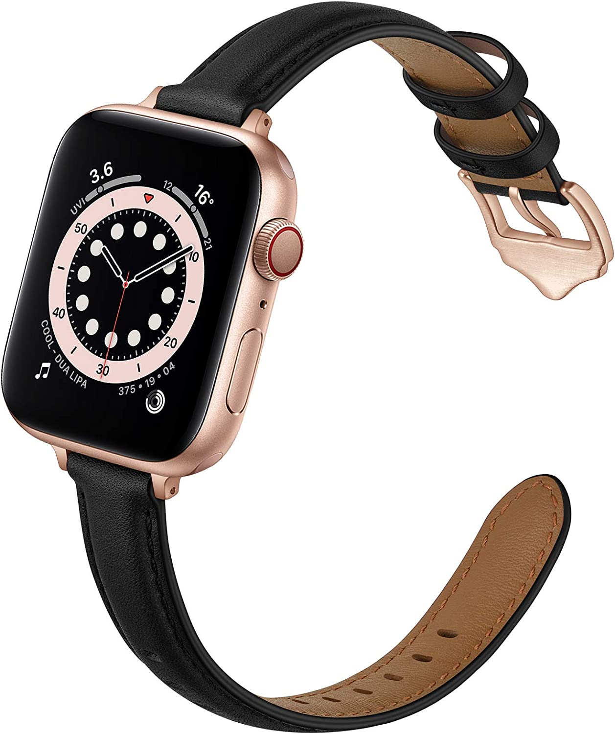 OUHENG Compatible with Apple Watch Bands 40mm 38mm 44mm 42mm, Women Slim Thin Genuine Leather Replacement Strap for iWatch SE Series 6 5 4 3 2 1 (Black/Rose Gold, 40mm 38mm)
