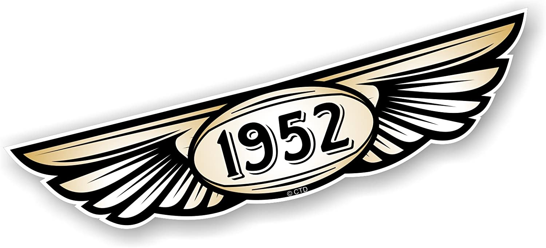 Ann/ée 1952/dat/ées traditionnel ail/é embl/ème Design pour casque moto biker en vinyle autocollant pour voiture en 130/x 30/mm