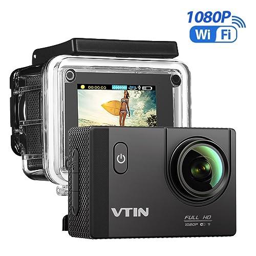 [Caméra étanche Wi-Fi] VTIN Caméra de Sport et Action Wi-Fi Haute Définition Full HD 1080p 12MP Caméscope d'action Etanche 30m Action Cam avec Grand Angle 170 Degrés - Commande à Distance Via Wi-Fi