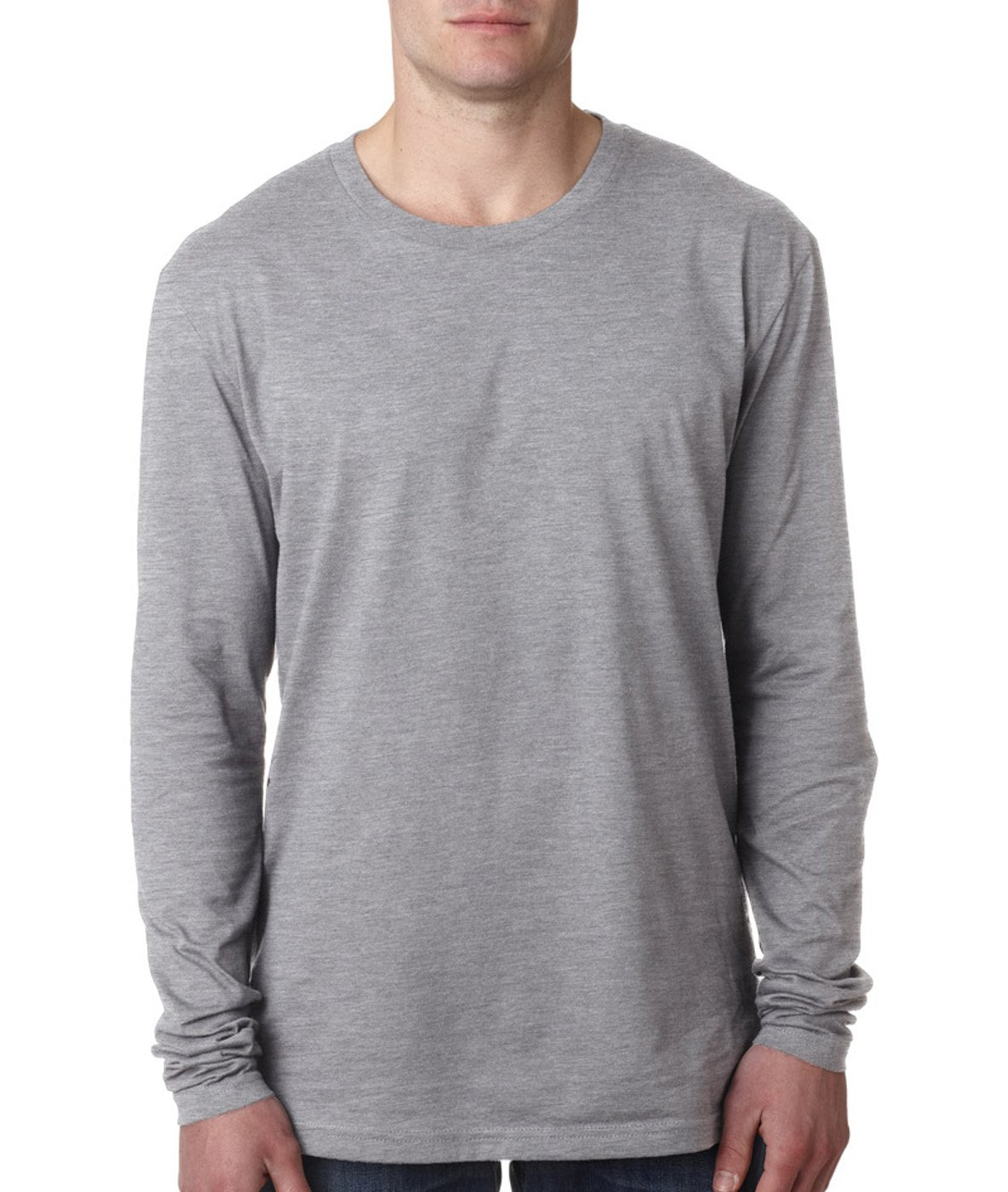Next Level Apparel mens Next Level Premium Fitted Long-Sleeve Crew(N3601)-HEATHER GRAY-XL