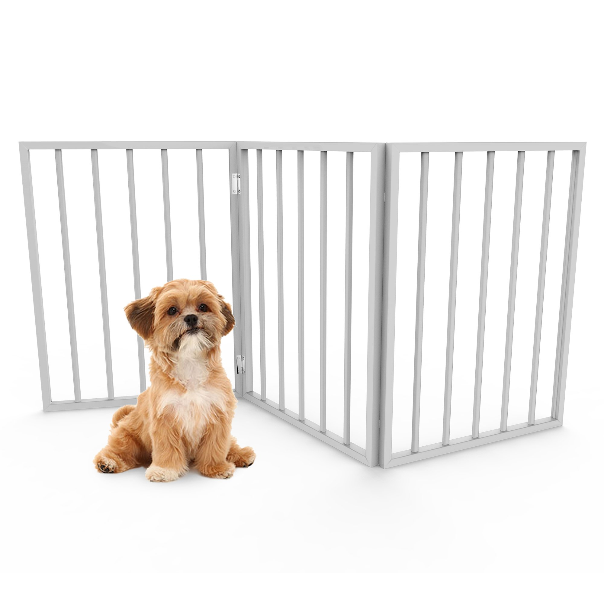 Foldable, Free-Standing Wooden Pet Gate- Light Weight, Indoor Barrier for Small Dogs / Cats by PETMAKER- White, 24 Inch Step Over Doorway Fence by PETMAKER