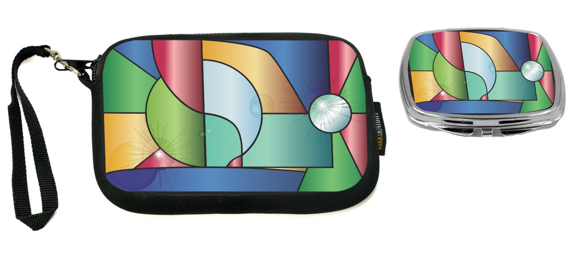 Rikki Knight Stained Glass Window with Reflections Design Neoprene Clutch Wristlet with Matching Square Compact Mirror
