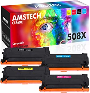 Amstech Compatible Toner Cartridge Replacement for HP 508X 508A CF360A CF360X M553 HP Color Laserjet Enterprise M553dn M553n M553x M577 CF361X CF362X CF363X Toner (Black Cyan Yellow Magenta, 4-Pack)