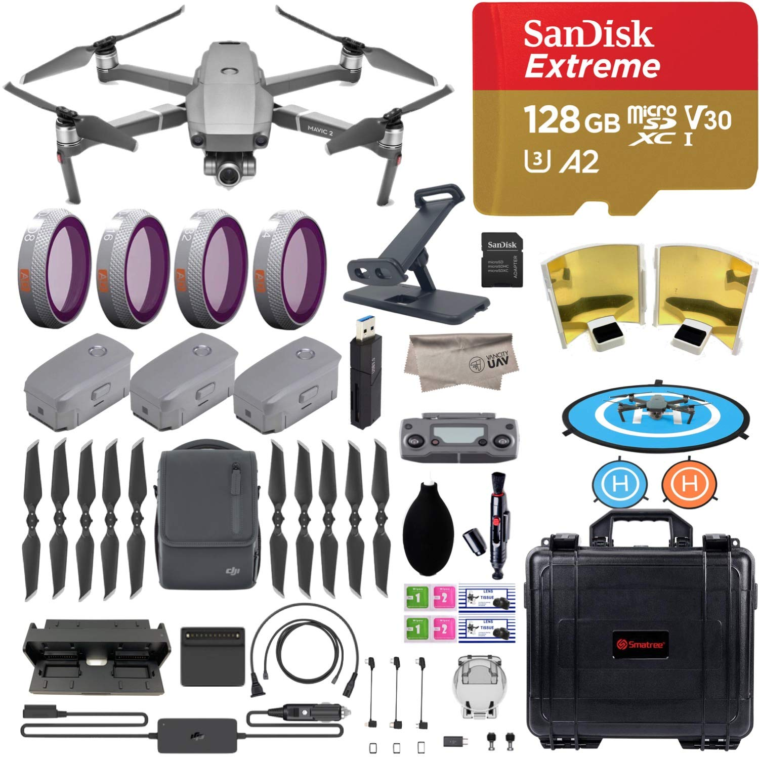 DJI Mavic 2 Zoom Drone Quadcopter with Fly More Combo, 3 Batteries, PGY ND Filters & Pad Holder, 128GB Extreme Micro SD, Landing Pad, Signal Booster, Extra Hard Carrying Case by DJI
