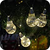 Battery Operated LED Globe Ball String Lights,9.5Ft 10 Bulbs 100 LEDs Copper Wire Warm White Starry Fairy Chrismas Holiday Party Garden Bedroom Patio Umbrella Bar Lights-Uzexon