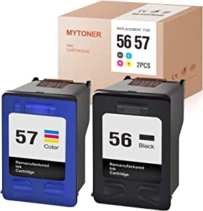 MYTONER Remanufactured Ink Cartridge Replacement for HP 56 57 C6656AN C6657AN for Photosmart 7760 7960 7660 OfficeJet 4255 4215 PSC 2410 1210 1350 1315 DeskJet 5650 (1 Black, 1 Color, 2-Pack)