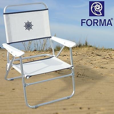 FORMA Chaise De Plage Pliable Bikini Structure En Aluminium Anodise 20mm Tissu Textilene 650gr M2 Blanc Pour Usage Exterieur Plagecamping
