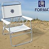 """FORMA chaise de plage pliable """"Bikini"""" Structure en aluminium anodise Ø 20mm, Tissu: Textilene 650gr/m2, blanc. Pour usage exterieur, plage,camping, plein air,pique-nique. Pliante PA560A"""