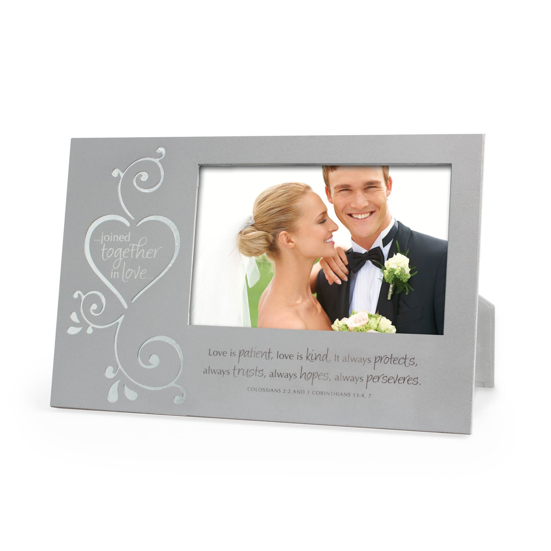 Lighthouse Christian Products Metal Joined Together in Love Frame, 4 x 6'', Silver