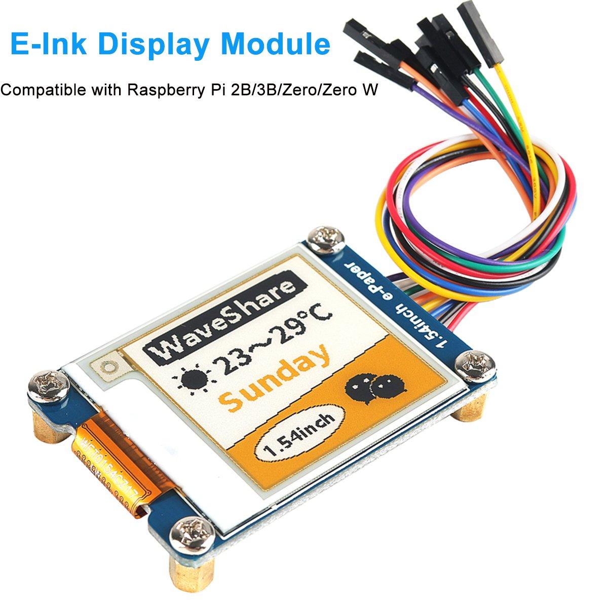 MakerHawk E-Ink Display Module, 1.54 inch E-Paper Display Module Screen Panel SPI Interface for Arduino Raspberry Pi 2B/3B/Zero/Zero W, Three Color Low Power Consumption, Wide Viewing Angle