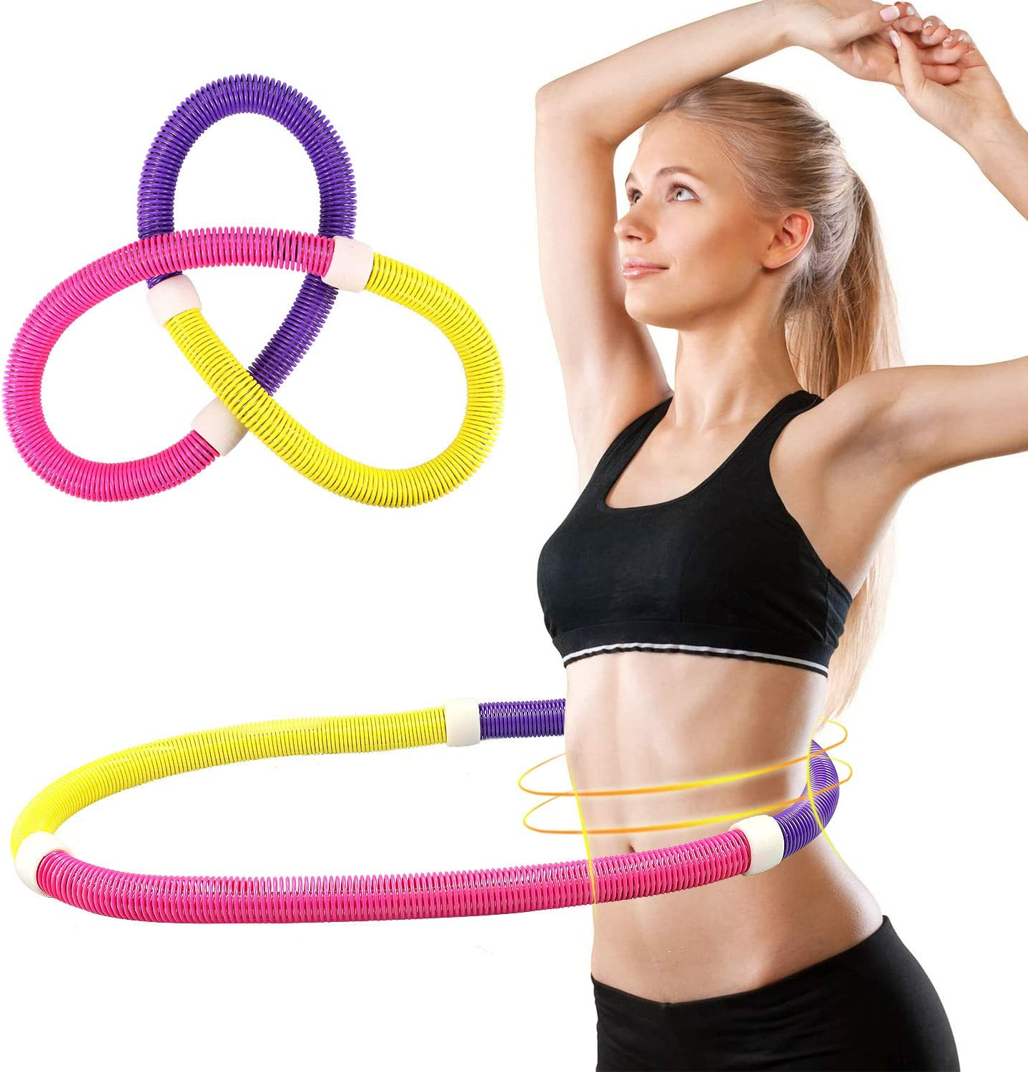REDSEASONS Hula Hoop for Adults,Lose Weight Fast by Fun Way to Workout,Easy to Spin Green Premium Quality and Soft Padding Hula Hoop,with Free Accessory Skipping Rope