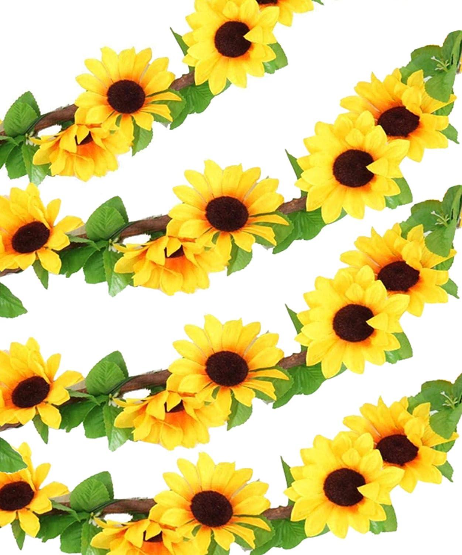 Healthcom 4 Packs Artificial Sunflower Garland Silk Sunflower Vine Yellow Flower Green Leaves 102