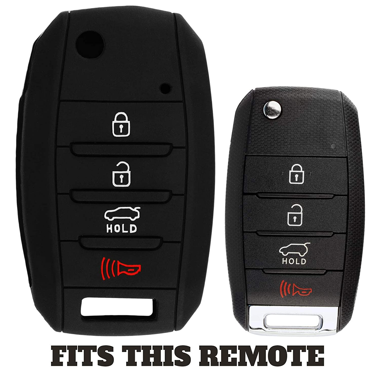 TQ8-RKE-4F19 KeylessOption KeyGuardz Keyless Entry Remote Car Key Fob Outer Shell Cover Soft Rubber Protective Case For Kia Hyundai OSLOKA-875T