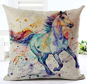 "LYNZYM Cotton Linen Square Throw Pillow Case Decorative Cushion Cover Pillowcover for Sofa 18""X 18"" Horse (7)"