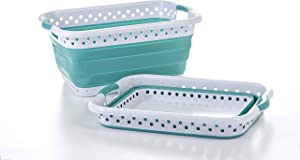 Pop & Load Collapse & Store Collapsible Basket Ultra-Slim Utility POP & LOAD- LAUNDRY, Large Rect - 2 Handles, TEAL