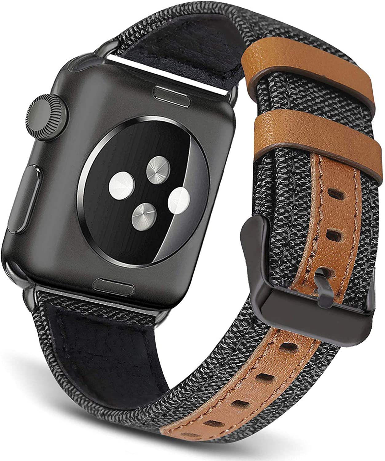 BATINY Compatible with Apple Watch Band Canvas 38mm 40mm 42mm 44mm Black Grey Bands Fabric with Leather Wristbands Black/Silver Buckle for iWatch Series 5, Series 4, Series 3, Series 2, Series 1