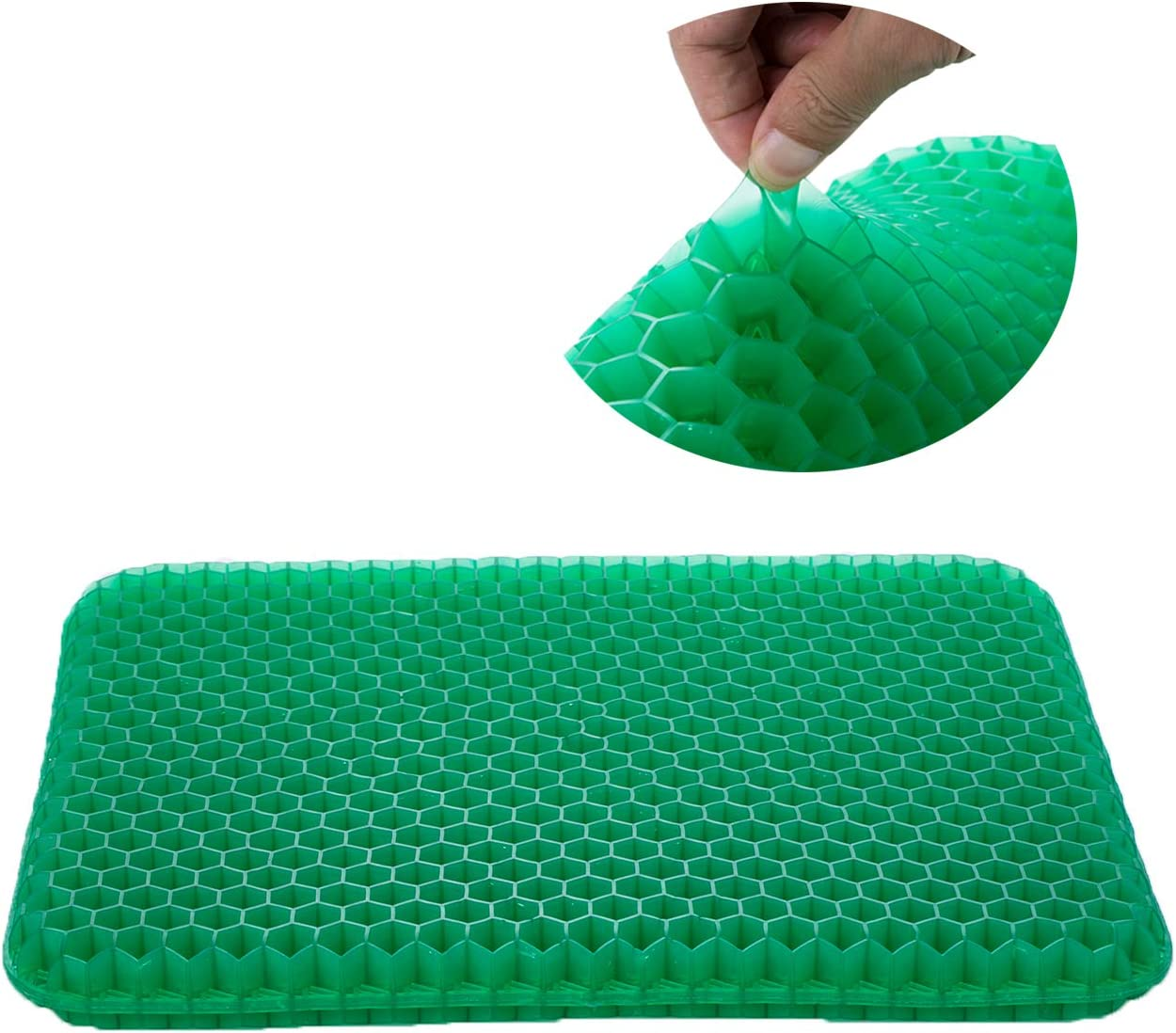 Gel Seat Cushion for Office Chair, Comfort Car Coccyx Cushion for Tailbone Pain Relief, Green Gel Cushion with Non Slip Cover for Car, Truck Driver, Wheelchair