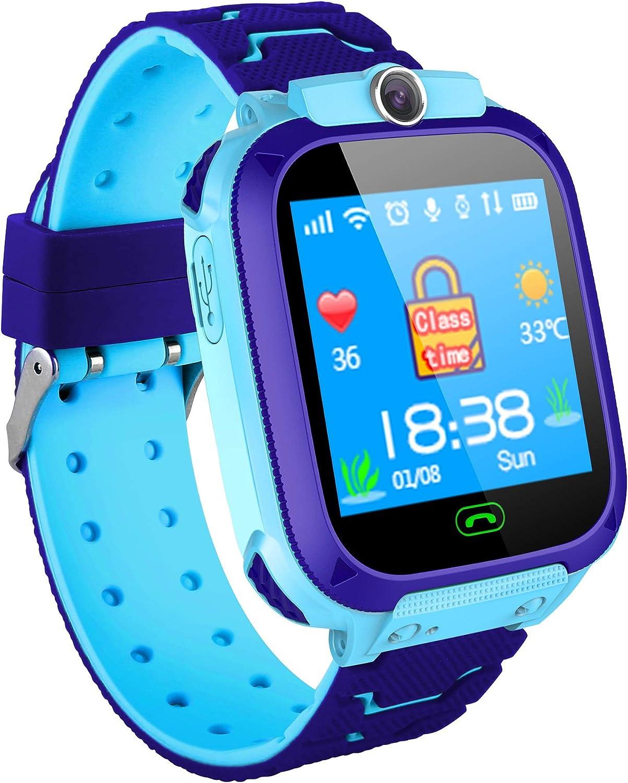 Hangang Reloj para niños con Pantalla táctil de 1.44 Pulgadas Reloj con posicionamiento LBS SOS SMS de comunicación bidireccional aplicación Gratuita Adecuada para 3 niños de hasta 12 años(Azul)