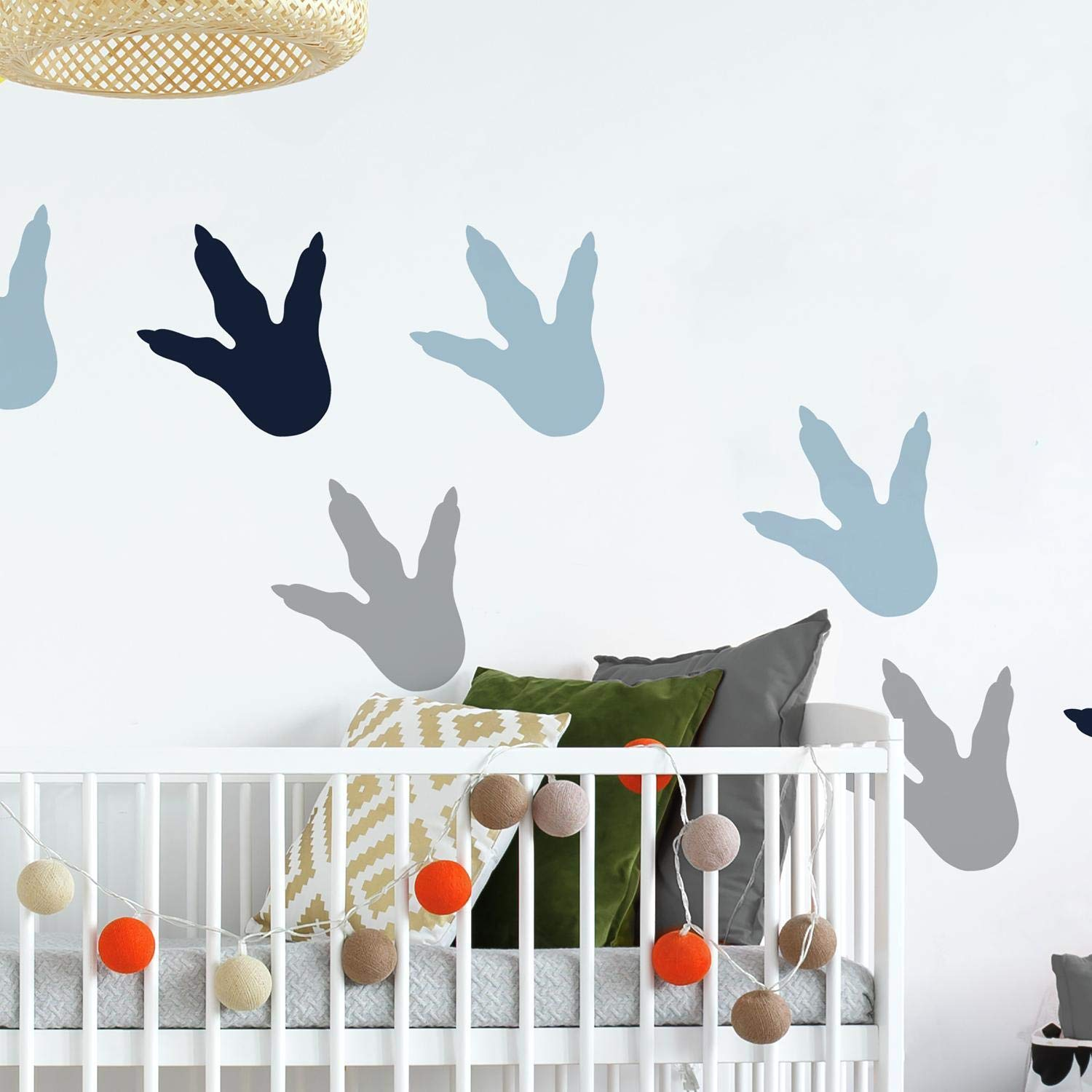 Gray RoomMates RMK4103SCS Dino Feet Peel and Stick Wall Decals Blue