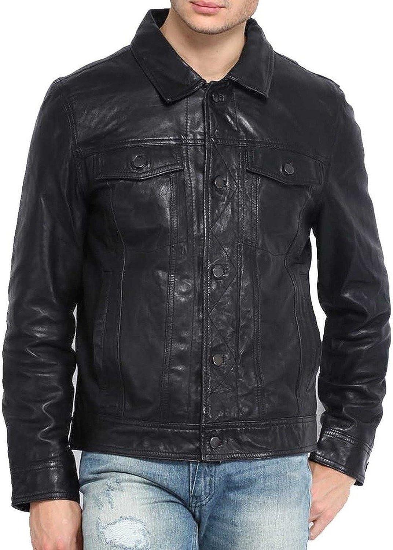New Mens Genuine Lambskin Leather Slim Fit Biker Motorcycle Jacket for Men T479