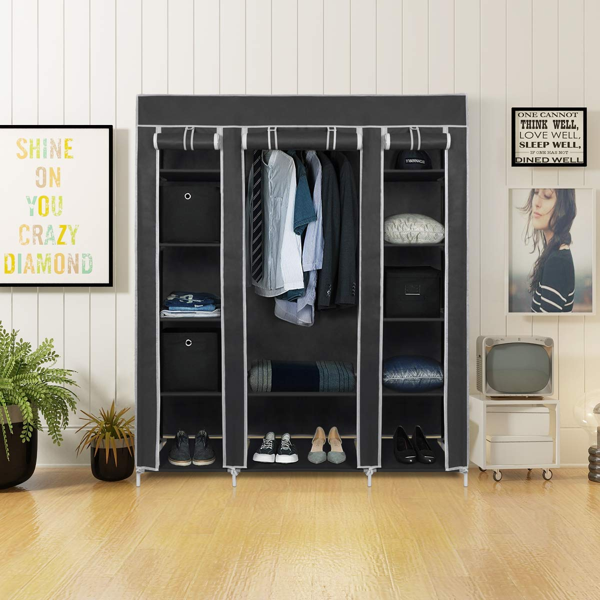 Grey LEMAIJIAJU Canvas Wardrobe Non-Woven Fabric Wardrobe Bedroom Furniture Storage Cupboard for Clothes Hanging Rail Storage Shelves