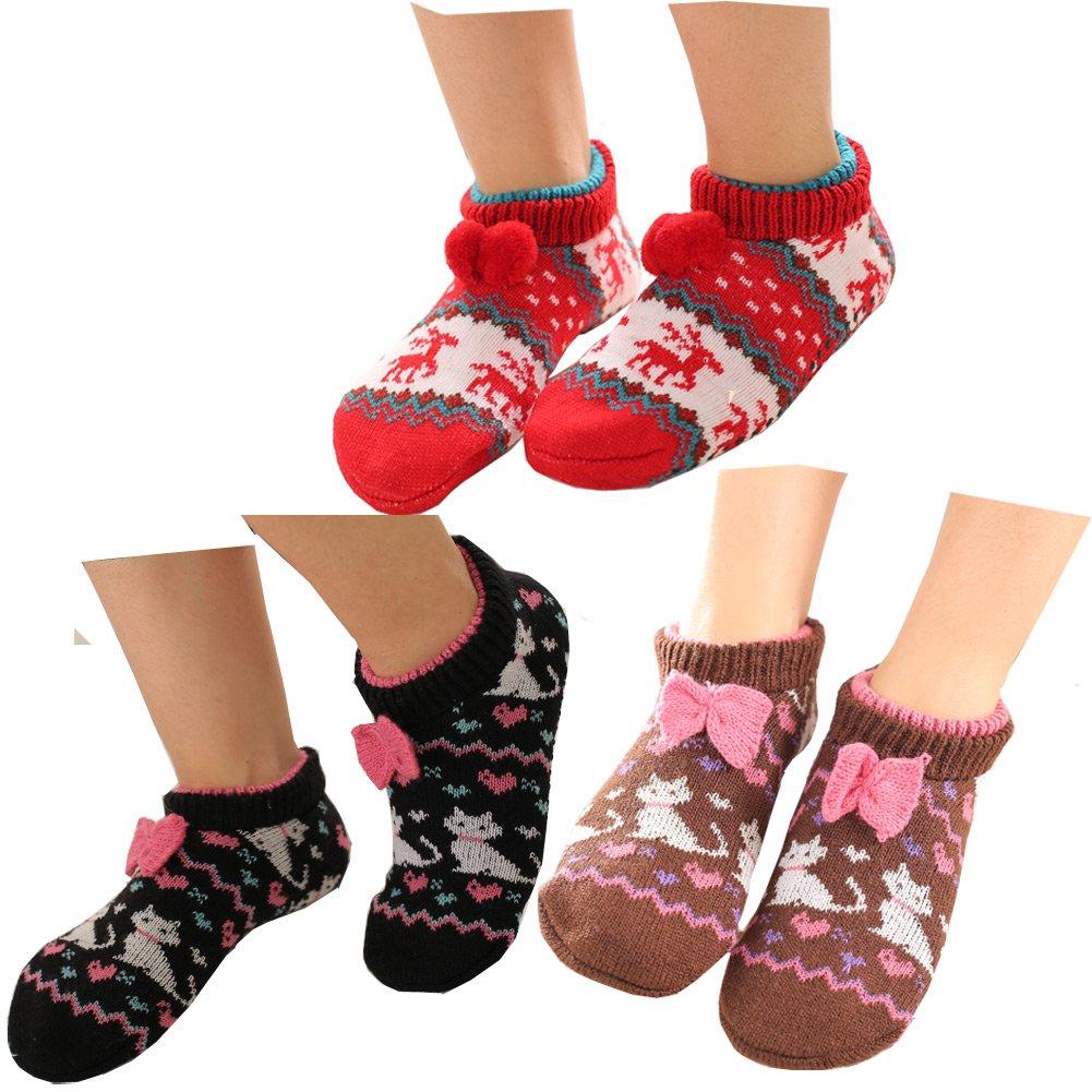 Lucky staryuan 3Pairs Women Non-Slip Floor Sock Thicker Warm House Socks (Style 1)