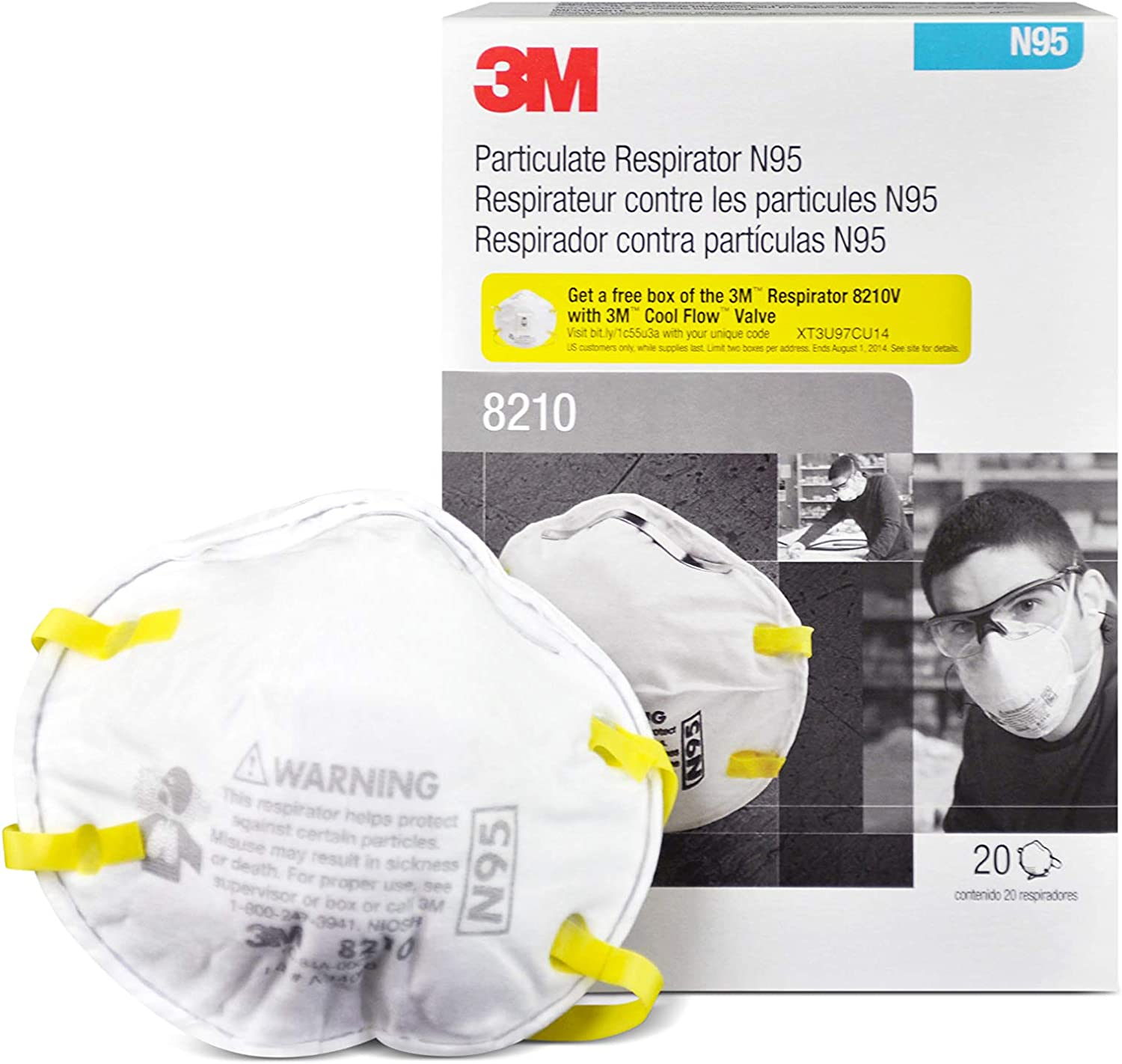 By Masks Ms92530 8210 Respirators Dust R3 N95 - Niosh Approved Box 3m 20 Safety Per