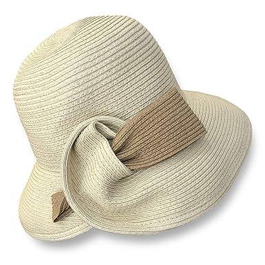 766a6d11 Melniko City Women Straw Cloche Hat Summer Packable Travel Beach Sunhat  (Cream)