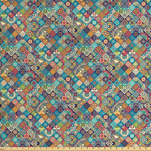 - Ambesonne Bohemian Fabric by The Yard, Geometric Pattern with Ethnic Ornamental Floral Figures Ethnic Folk Art Abstract, Decorative Fabric for Upholstery and Home Accents, 3 Yards, Multicolor
