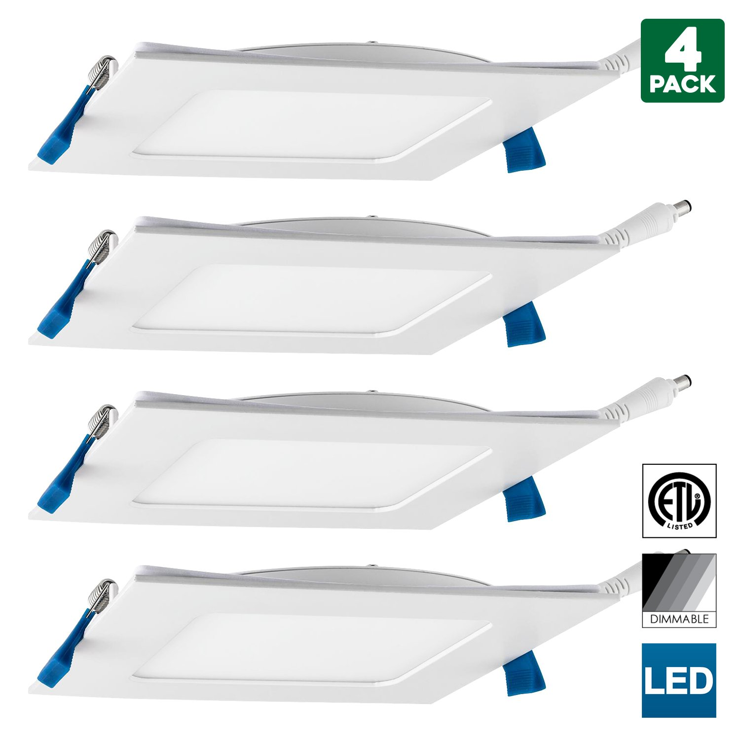 4 Pack Sunlite 6-inch Square 12W Recessed Ultra Slim Dimmable LED Downlight, 850 Lumens (75W Equal), 3000K Warm White, ETL & Energy Star, Kitchens & Living Rooms, Commercial & Residential, White