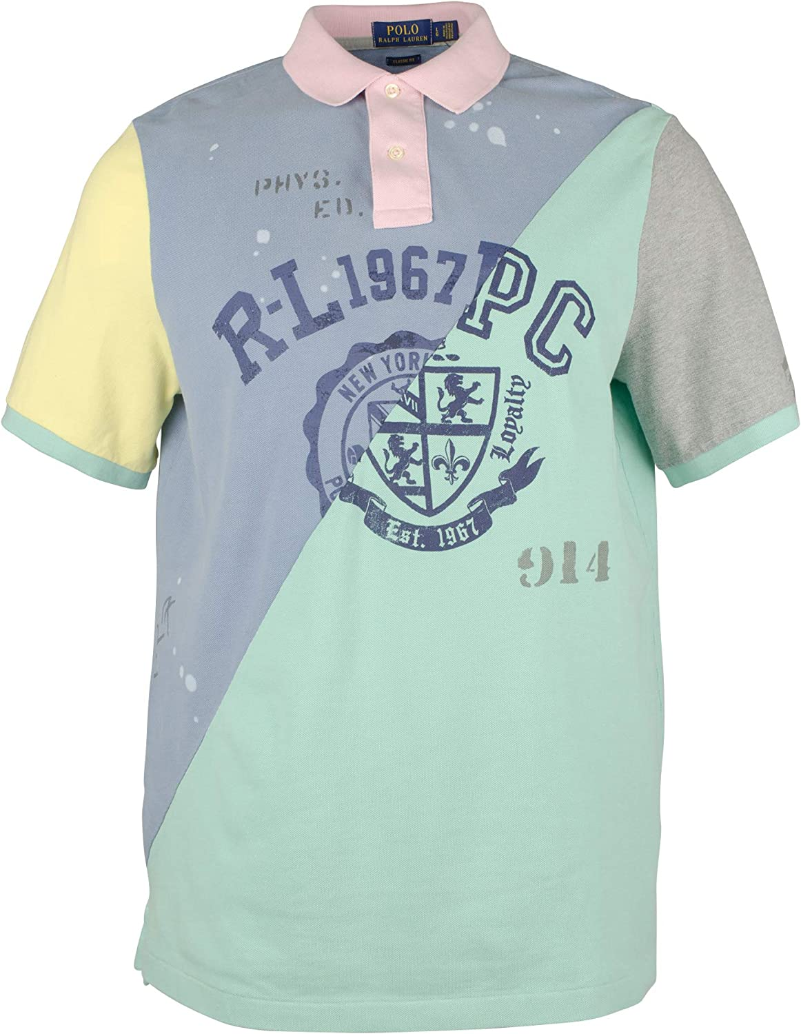 Polo Ralph Lauren Mens Graphic Patchwork Polo Shirt