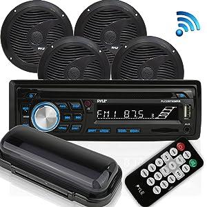 "Wireless Bluetooth Marine Audio Stereo - Kit w/Single DIN Universal Size Radio Receiver, Hands-Free Calling, 6.5"" Waterproof Speakers, CD Player, MP3/USB/SD Readers & AM/FM Radio - Pyle PLCDBT95MRB"