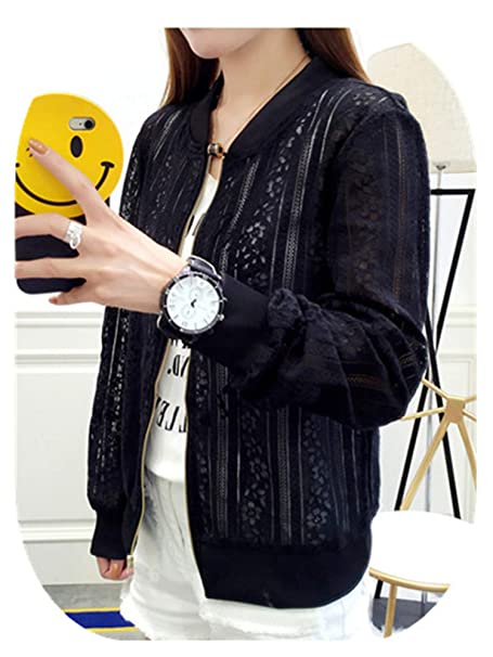 a74d98171c9 Image Unavailable. Image not available for. Color  Spring Autumn Lace  Hollow Out Jackets Casual Slime Women ...