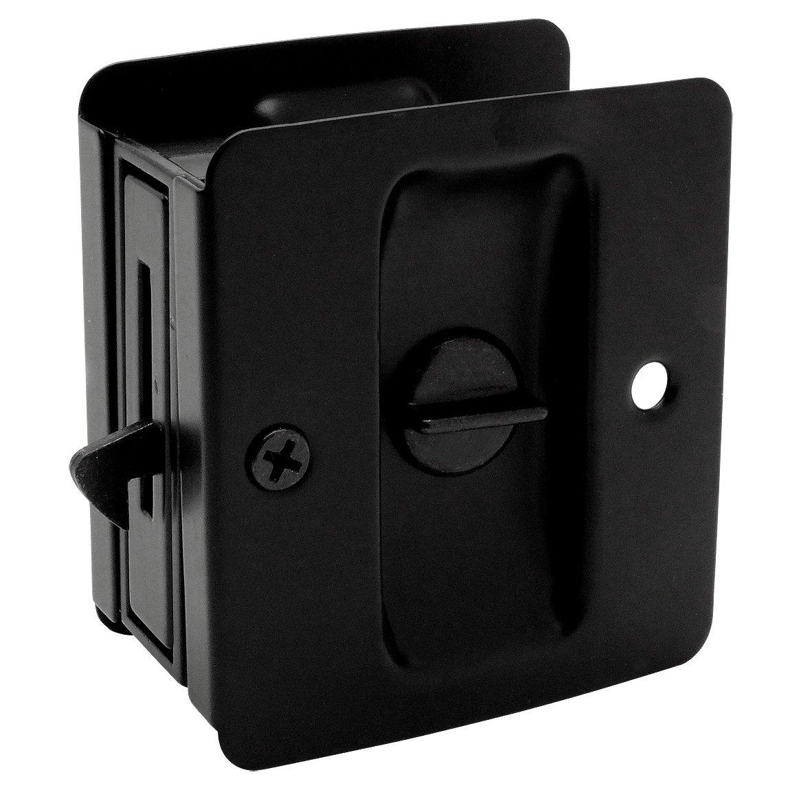 Designers Impressions Matte Black Pocket Door Privacy Lock : 53850