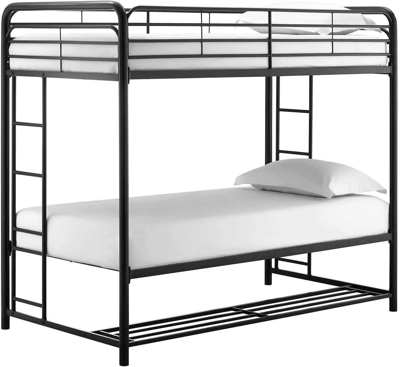 Black DHP Bonnie Twin//Twin Bunk Bed with Storage Bins