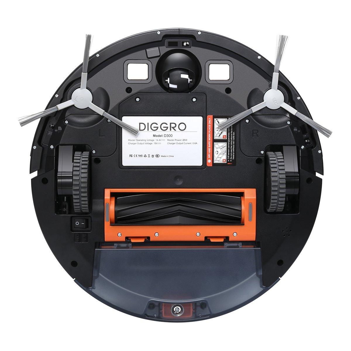 diggro D300 - Robot aspirador con 4 Lavado (7.2 cm 1400 PA succión filtro HEPA especialmente para animales pelo para alérgicos 500 ml basura Buzón 300 ml ...