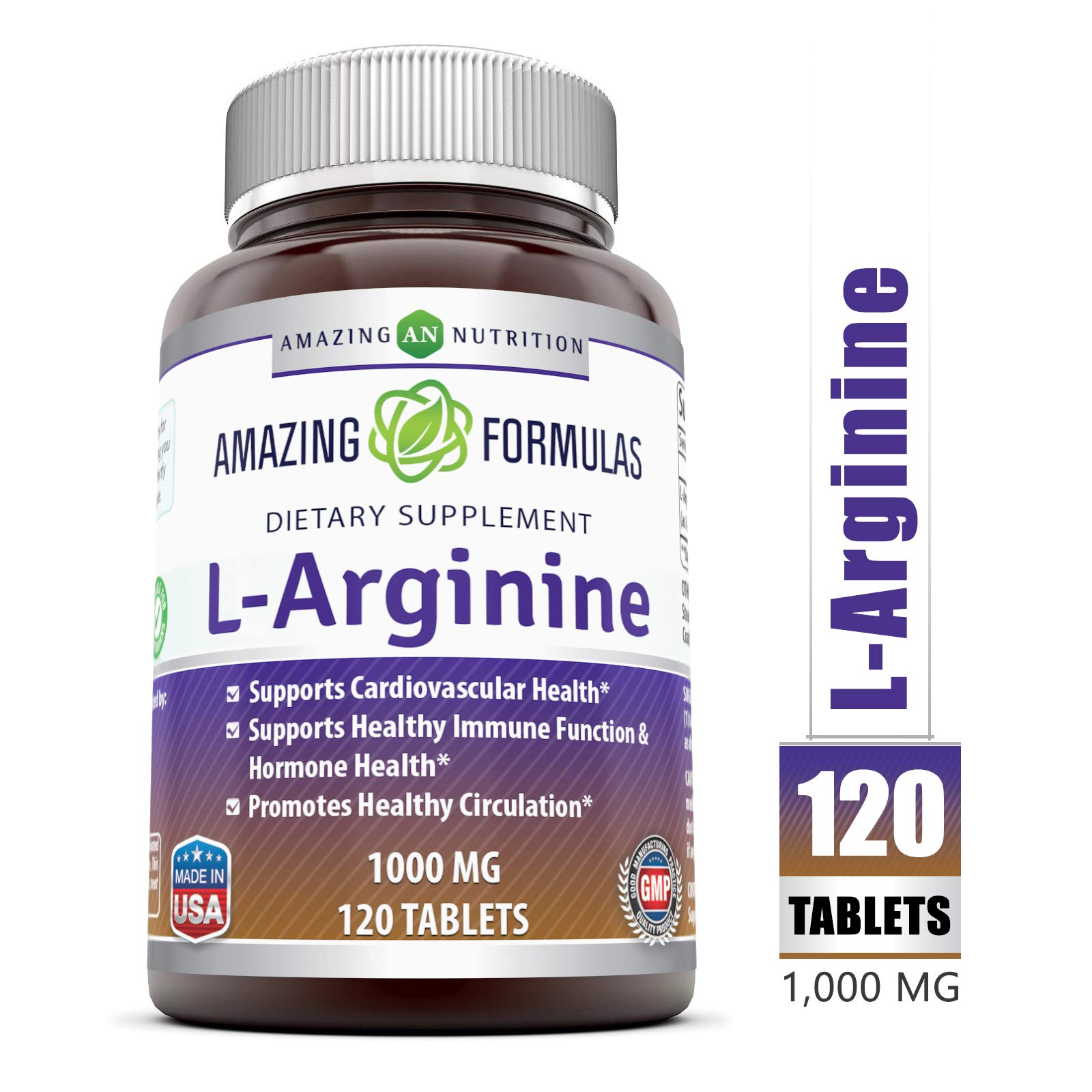 Amazing Nutrition L-Arginine 1000mg Supplement - Best Amino Acid Arginine HCL Supplements for Women & Man - Promotes Circulation and Supports Cardiovascular Health - 120 Tablets by Amazing Nutrition